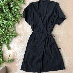 Madewell Black Wrap Short Sleeve Crepe Dress